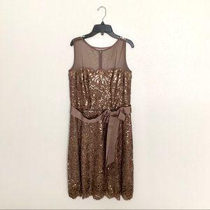 Tadashi Shoji Brown Sequin Lace Overlay Dress